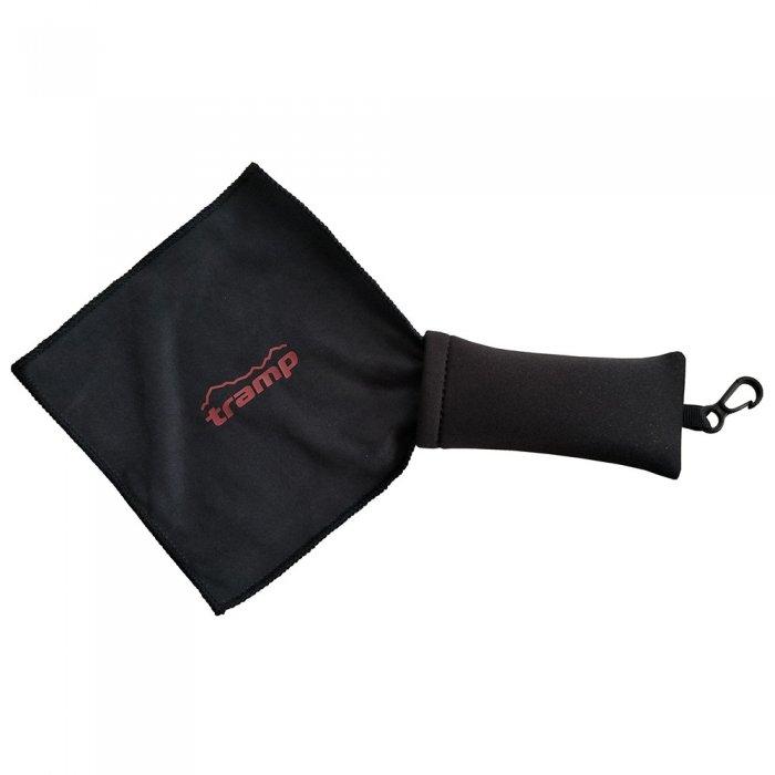Tramp салфетка из микрофибры с неопреновым чехлом (черный)