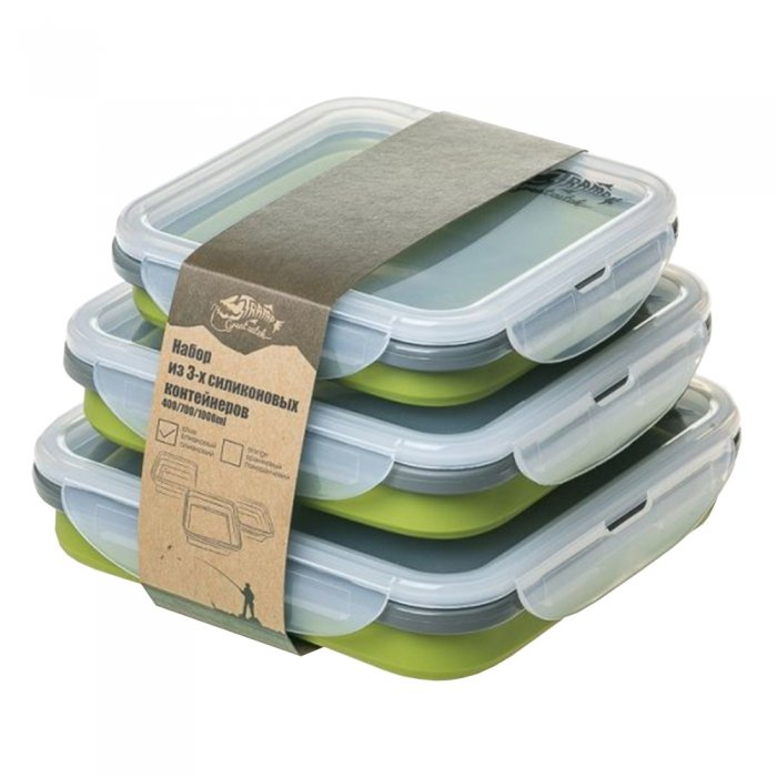 Tramp набор из 3 х силиконовых контейнеров (силикон, оливковый)