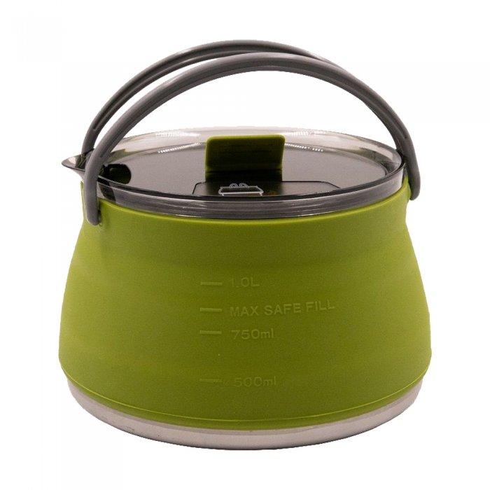 Tramp чайник складной силиконовый 1л (оливковый)