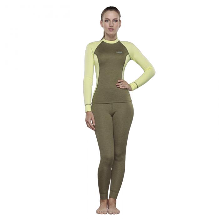 Tramp футболка с длинным рукавом женская Trekking (зеленый/желтый)